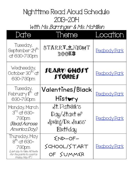 Nighttime Read Aloud Schedule 2013 (1)
